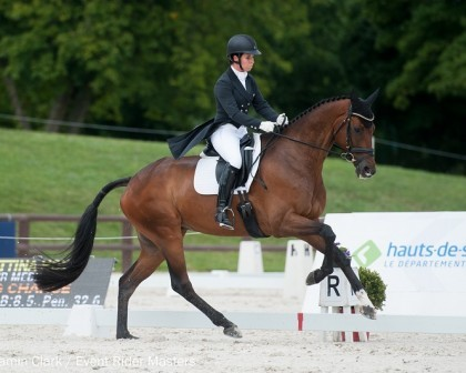Image for Bettina Hoy leads the dressage on Day 1 at Leg 4 of the Event Rider Masters
